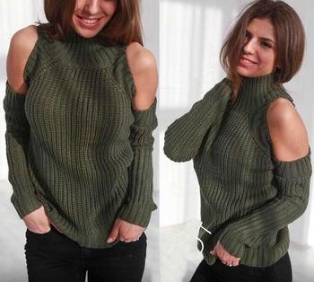 Интересен дамски ежедневен пуловер с полувисока яка и голо рамо - 6 цвята