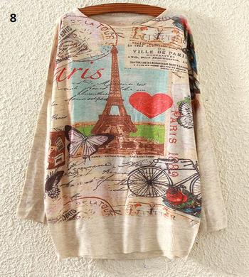 Ежедневен дамски пуловер с дълъг ръкав и най-различни шарени апликаций