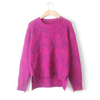 Интересен дамски пуловер с О-образна яка и дълъг ръкав - много цветове