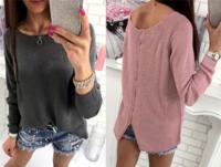 Ежедневна дамска блузка с О-образна яка и интересен цип - 2 цвята