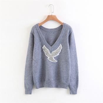 Уникален и много удобен дамски пуловер с интересни лъскави камъчета - 3 цвята