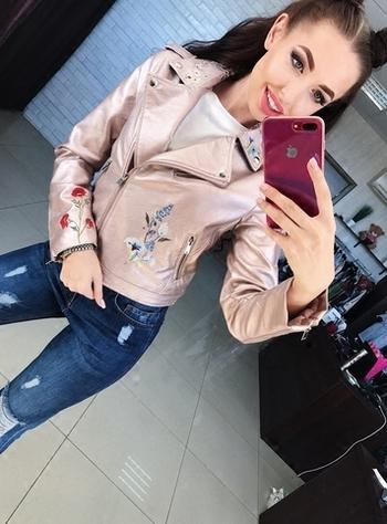 Γυναικείο μπουφάν  με ενδιαφέρον όμορφο κεντητό άνθη