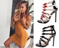 Стилни дамски сандали на висок ток с каишки и панделки в два цвята