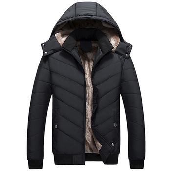 Ζεστό αθλητικό-κομψό χειμερινό σακάκι για άνδρες σε μαύρο και μπλε χρώμα με κουκούλα