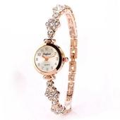 Нежен дамски часовник с камъни в златист и сребърен цвят