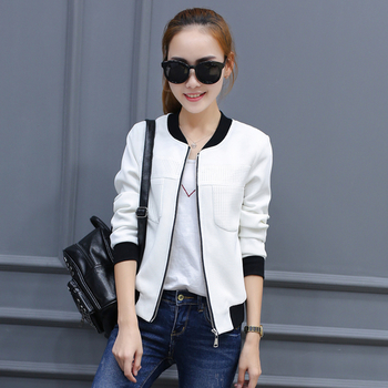 Αθλητικό-κομψό σακάκι φθινόπωρο για κυρίες σε λευκό και μαύρο χρώμα