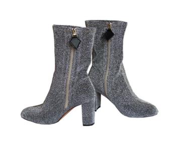 Γυναικείες μπότες με γυαλιστερό φινίρισμα, παχύ ψηλό τακούνι και φερμουάρ