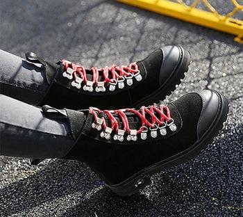 Γυναικείες casual μπότες με σκληρή αντιολισθητική σόλα και κορδόνια