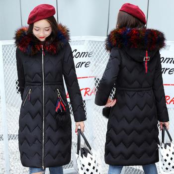 Дълго дамско зимно яке с много красив пух по яката - 6 цвята
