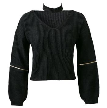 Елегантен дамски пуловер с интересни ципове по двата ръкава