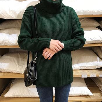 Зимен дамски пуловер с голяма яка в много цветове и в семпъл дизайн