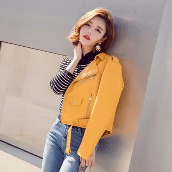 Μοντέρνο γυναικείο μπουφάν από συνθετικό δέρμα με ζώνη και σε διάφορα χρώματα