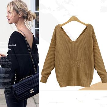 Много интересен дамски пуловер с V-образно деколте,няколко модела