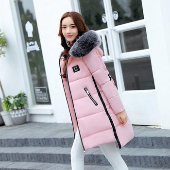 Стилно зимно дамско яке - дълго, с качулка и пух, в няколко цвята
