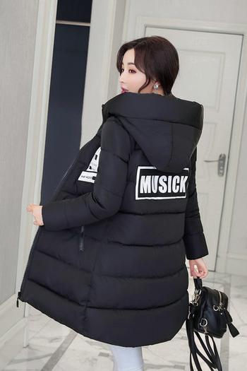 Красиво зимно дамско яке с надпис и качулка в много цветове