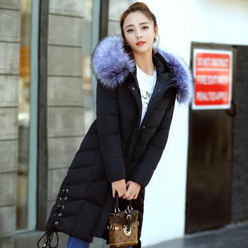 Стилни зимно дълго яке за дамите с качулка и пух, с пълнеж от гъши пух