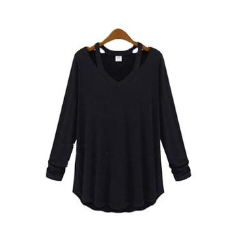 Модерна есенна дамска блуза с V-образно деколте в бял, сив и черен цвят