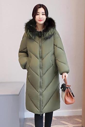 Страхотно дамско яке, дълго до коленете, с голяма пухеста качулка