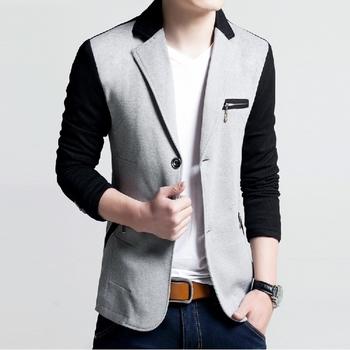Модерно спортно-елегантно мъжко сако с джобове с цип и смесени цветове