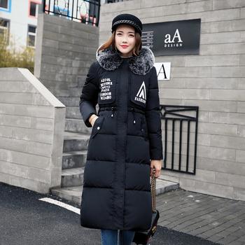 Много стилно зимно дълго яке за дамите с надписи и качулка с пух в много цветове