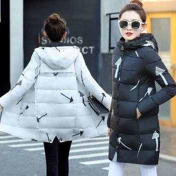Зимно дамско яке в дълъг модел с качулка и интересни фигури в два цвята