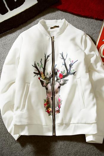Κομψό ανδρικό μπουφάν για το φθινόπωρο σε ασπρό και μαύρο χρώμα