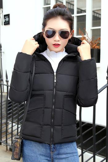 Απλό χειμωνιάτικο γυναικείο μπουφάν με κουκούλα σε πέντε χρώματα