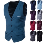 Официален мъжки Slim-fit елек в различни цветове