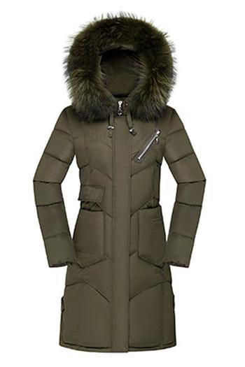 Стилно дълго дамско яке в няколко цвята с качулка с пух