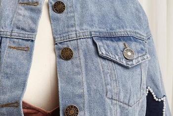 Γυναικείο τζιν μπουφάν με λαμπερά βότσαλα και αστεράκια
