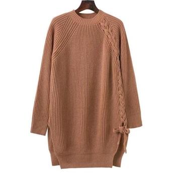 Дамски long пуловер тип туника с О-образна яка