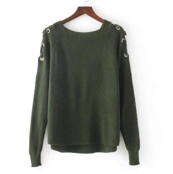 Ежедневен дамски пуловер с О-образна яка и връзки в три цвята