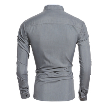 Елегантна изчистена мъжка риза с дълъг ръкав с попска яка