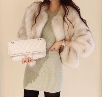 Елегантно палто за дамите с имитиращ косъм лисица