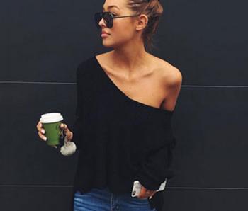Актуален дамски пуловер с V-образно деколте , 3 цвята