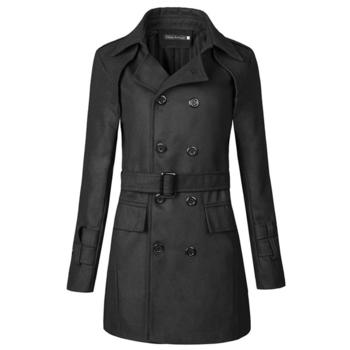 Χειμερινό μακρύ ανδρικό παλτό με 2 σειρές κουμπιών και ζώνη - Badu ... 81ea7e4c0b5