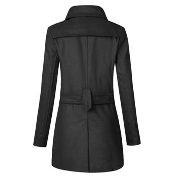 Χειμερινό μακρύ ανδρικό παλτό με 2 σειρές κουμπιών και ζώνη