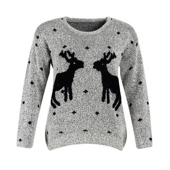 Ежедневен дамски пуловер с изображение в няколко цвята