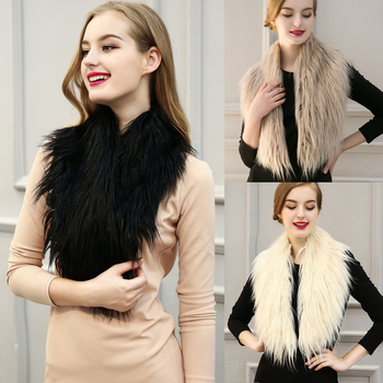 Елегантен дамски шал от изкуствен косъм в три цвята