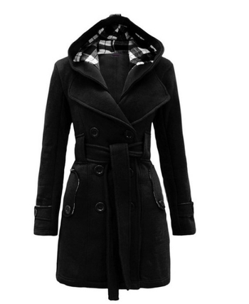 Μακρύ γυναικείο χειμωνιάτικο μπουφάν με κουκούλα και ζώνη