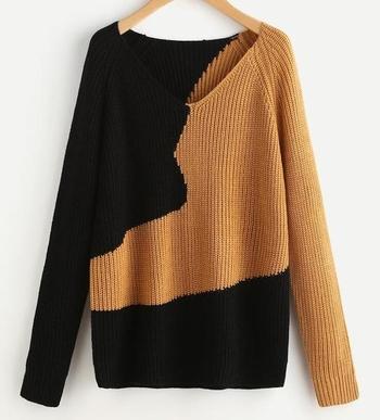 Актуален дамски пуловер с V-образно деколте,широк ръкав и преливащи цветове