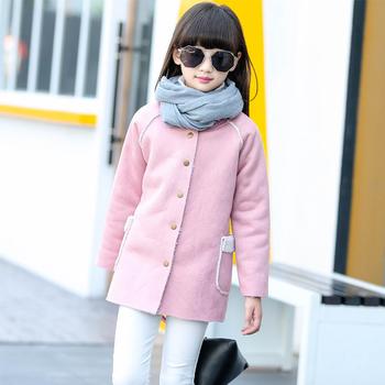 43b84908daa badu.gr - Κομψό παιδικό παλτό για κορίτσια σε ροζ και μπεζ χρώμα