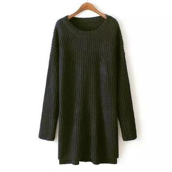 Дълъг дамски пуловер с О-образна яка тип туника