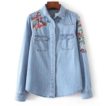 51068ebaa09e Γυναικείο τζιν πουκάμισο με πολύ όμορφα σχέδια λουλουδιών κια κεντήματα