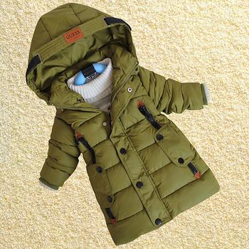 Ежедневно зимно яке за момчета и момичета в дълъг урок в син и зелен цвят