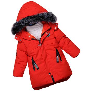 Детско зимно яке за момчета с качулка с пух