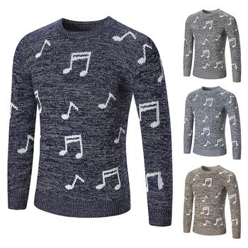 Интересен мъжки пуловер с музикални ноти