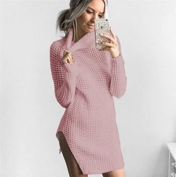 Елегантен и много топъл дамски дълъг пуловер с полувисока яка