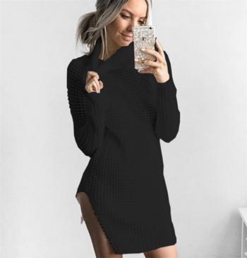 2bbceea2951 Елегантен и много топъл дамски дълъг пуловер с полувисока яка - Badu ...