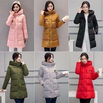 Πολύ ζεστό γυναικείο μπουφάν με μακριά μανίκια και κουκούλα σε διάφορα χρώματα